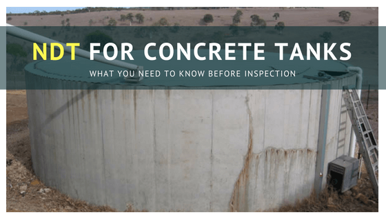 Non-destructive testing of concrete tanks