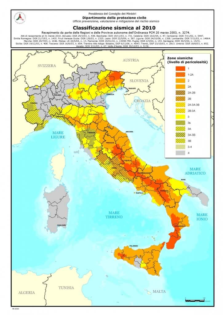 Seismic map Italy